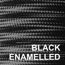 Metal Braided 6 Amp Mains Electrical Cable - BLACK ENAMELLED FINISH